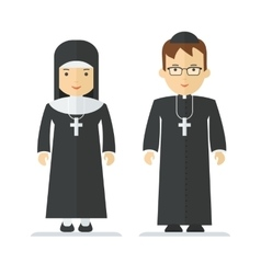 catholic priest and nun vector image vector image