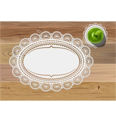 doily mats and apple vector image vector image