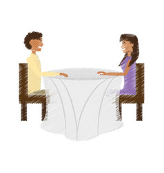 drawing couple sitting romantic dating vector image vector image