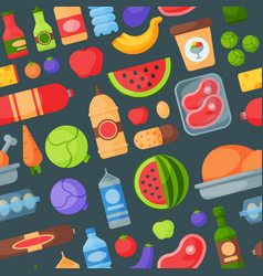 Everyday food products seamless pattern background vector