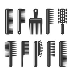 hair combs and hairbrushes icons set vector image