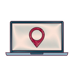 laptop pin map navigation device screen technology vector image