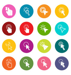 mouse pointer icons many colors set vector image vector image
