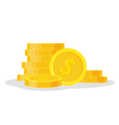 set coins stack icon flat vector image vector image