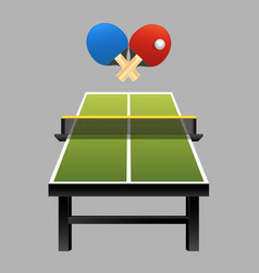 table tennis rackets with ball on table vector image