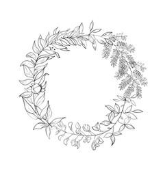 vintage wreath of leaves vector image
