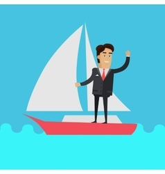 Young Businessman on Sailing Yacht vector image