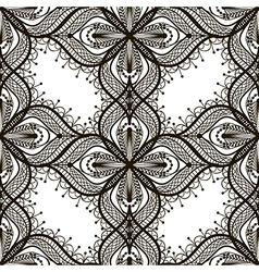Black lace floral seamless pattern on white vector image