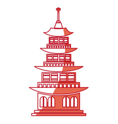 chinese building ancient temple tower pagoda red vector image