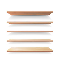 empty wood shelves template set realistic vector image