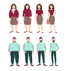 fat and slim people weight loss concept woman vector image