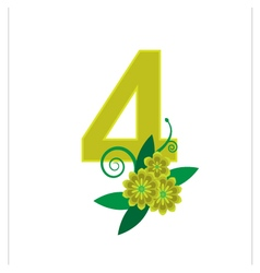 Number four with floral vector image vector image
