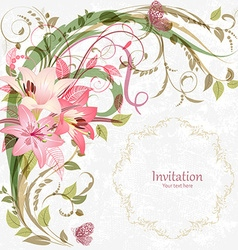 romantic invitation card with pink lily With love vector image vector image
