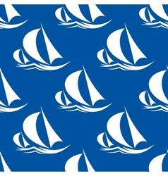 Seamless pattern of yachts and sailing ship vector image