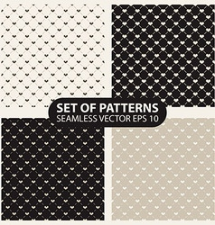 set of seamless graphic patterns hearts vector image vector image
