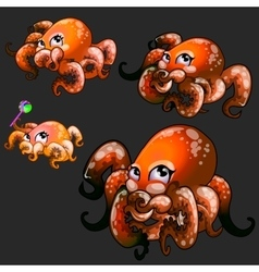 Set orange cute octopuses on a black background vector image vector image