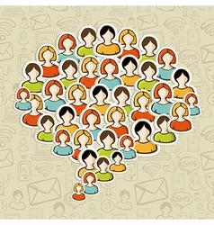 Social media bubble people crowd vector image vector image