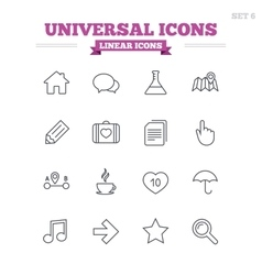 Universal linear icons set Thin outline signs vector image