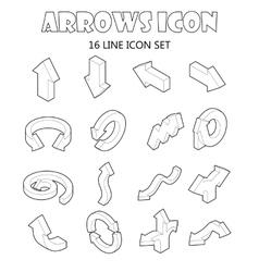 Arrow icons set cartoon style vector image vector image