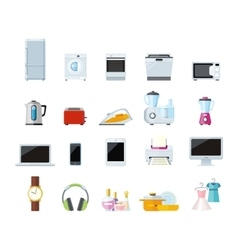 Set of Household Appliances Design Flat vector image vector image