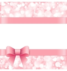 Shiny pink background with bow vector image vector image