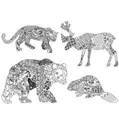 a set of drawings of animals in the ethnic vector image vector image