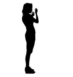 black silhouette woman paint lipstick people on vector image