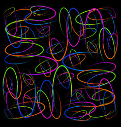 colorful glowing circles on a black background vector image vector image