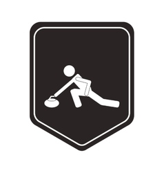 curling pictogram icon shield emblem vector image