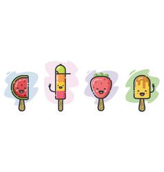 cute ice-cream cartoon characters vector image vector image