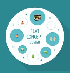 Flat icons malay ramadan kareem minaret and vector
