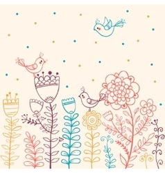 Flowers and Birds in vector image vector image