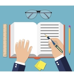 Hand Writing On Book Open vector image