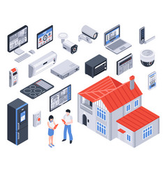 isometric smart home icon set vector image