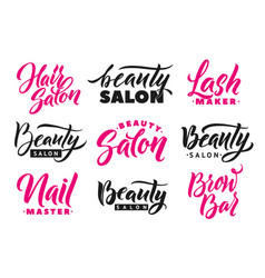 logo beauty salon lettering set custom handmade vector image