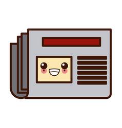 newspaper isolated symbol kawaii cute cartoon vector image
