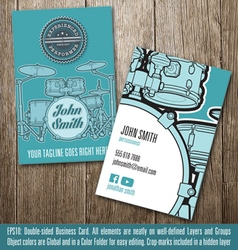 Percussionist business card vector