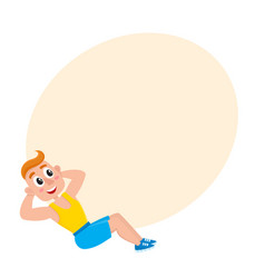 young man doing sit ups sport exercises training vector image