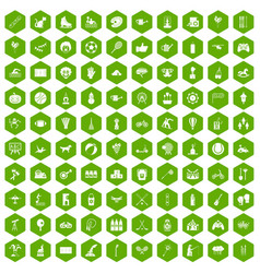 100 kids activity icons hexagon green vector image