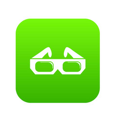 3d glasses icon green vector image