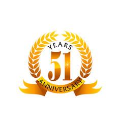 51 years ribbon anniversary vector