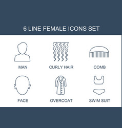 6 female icons vector