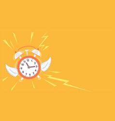 Alarm clock with wings flies away vector