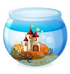 An aquarium with a castle vector