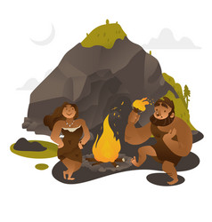 ancient people dancing around fire near rock in vector image