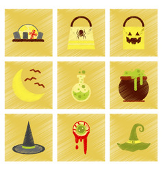 assembly flat shading style icons halloween bag vector image