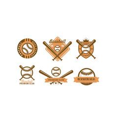 baseball logo set retro emblem for club vector image