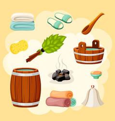 bath and sauna accessories set wooden brown vector image