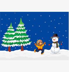 bear in winter landscape vector image