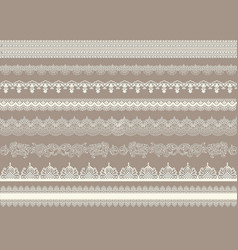 Beautiful lace ribbons set vector